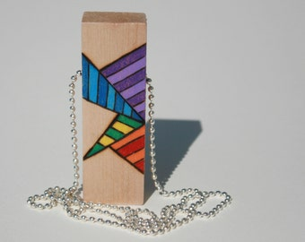 Wood block pendant, Wearable abstract art, Unique handmade jewelry, Rainbow colors
