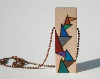 Unique Wood Pendant with Abstract Triangle Design Colored with Prismacolor Pencils in Muted Tones