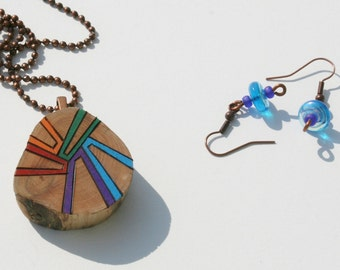 Chunky Woodburned Cedar Pendant with Matching Earrings, Rainbow Colors