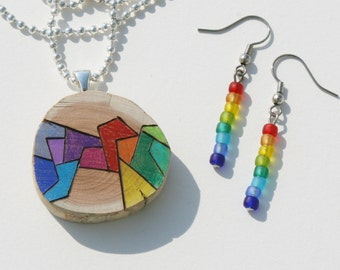 Woodburned Cedar Pendant - Original Abstract Wearable Art Colored with Prismacolor Pencil - Rainbow Colors, Matching Earrings