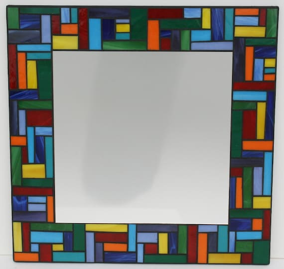 "SALE: Colorful Stained Glass Mosaic Mirror 18"" x 18"""