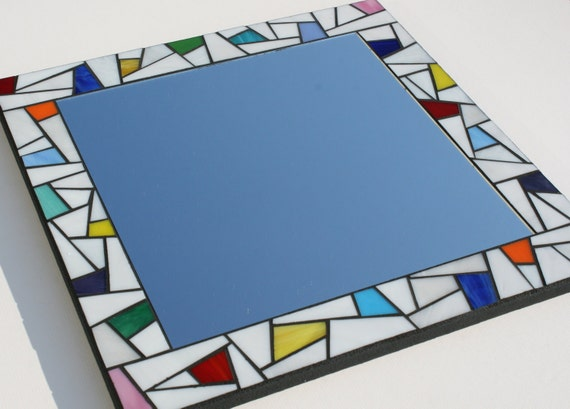 """SALE: White Stained Glass Mosaic Mirror with Color Splashes 16"""" x 16"""""""