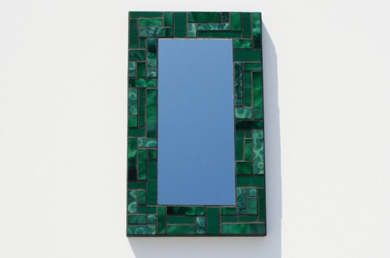 "Green Stained Glass Mosaic Mirror, 7"" x 11.75"""