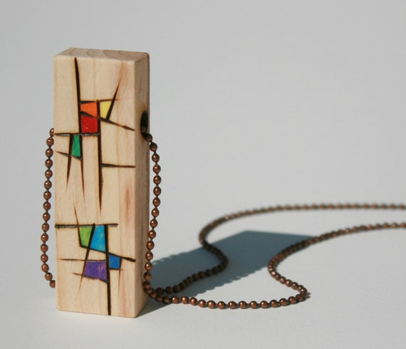 Unique wood pendant, Wearable abstract art, Affordable handmade jewelry, Rainbow colors