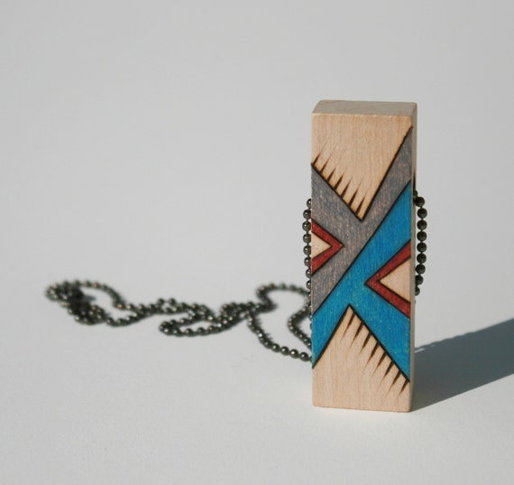 Unique wood pendant with original abstract design - Affordable funky jewelry - Gray turquoise red