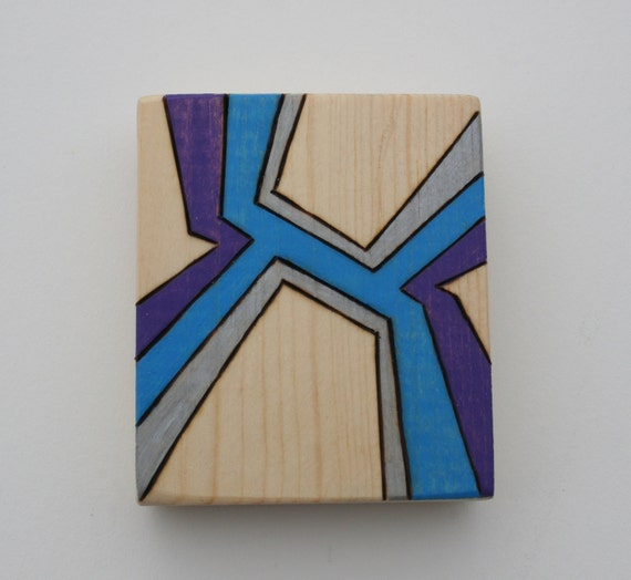 "Small Abstract Art on Pine - Original Drawing - Pyrography - Prismacolor Pencil - Blue, Purple, Silver - Affordable Gift - 3"" x 3.5"""