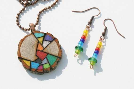 Wood Pendant Necklace with Matching Earrings - Woodburned Design Colored with Prismacolor Pencil - Rainbow Colors