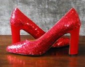 """Vintage early 90s red sequin high heels with satin 3 1/2"""" heel (SIZE 7) AKA The specialist shoe"""
