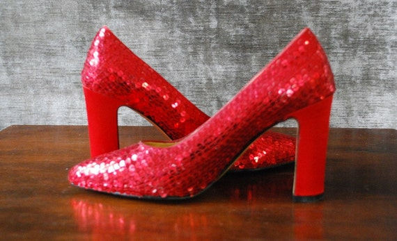 "Vintage early 90s red sequin high heels with satin 3 1/2"" heel (SIZE 7) AKA The specialist shoe"