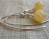 Honey Jade Earrings, Yellow Stone Earrings, Long Danglers, Beaded Wishbone,