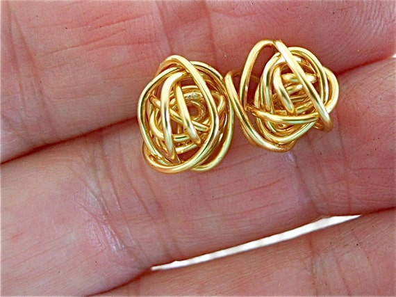 Gold Post Earrings, Gold Wire Wrap, Messy Modern, Modern Studs