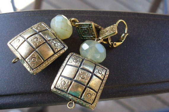 Faceted Jade Bead Earrings, Square Antique Style Golden Pillows, Pale Green Gems, Gift for Her, Gift under 20