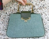 Vintage Teal Tweed-like Purse