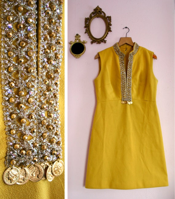 RESERVED for Tatiana Vintage 1960s Yellow Sleeveless Gold Beaded Jingle Coin Dress