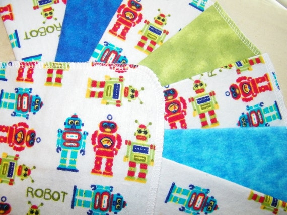 LITTLE ROBOTS, 2 dozen Flannel Cloth Baby Wipes, Set of 24