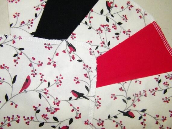 RED BIRDS, 2 Dozen Flannel Cloth Baby Wipes, Wash Cloths, Red, Black, Floral, Birds, Set of 24