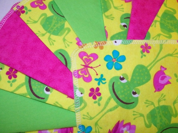 Cloth Baby Wipes, Reusable Cloth Wipes, HAPPY GREEN FROGS, Flannel Cloth Baby Wipes, Green, Blue, Set of 24
