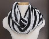 Striped Infinity Scarf Black/White SALE