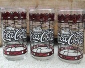 Vintage Coca Cola Glasses Red White Stained Glass