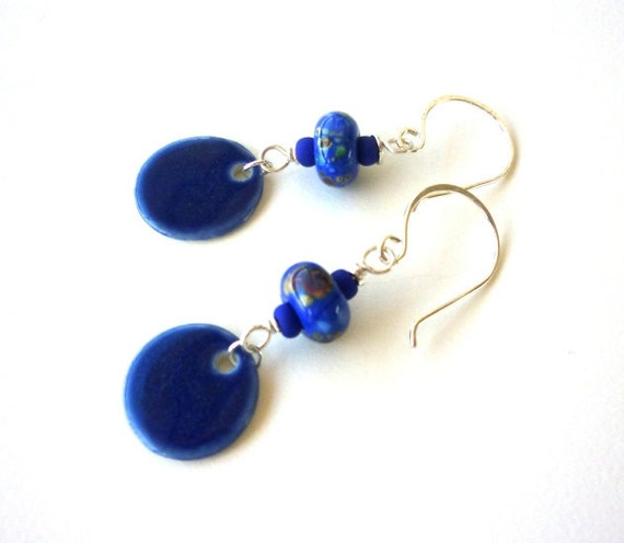 Blue Ceramic, glass and Sterling Silver Cobalt Earrings by Sasha and Max