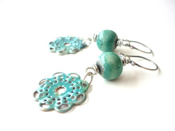 Doily Aqua Ceramic, enamel and  Sterling Silver earrings  by SashaandMax Studio