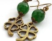 Charm earrings gemstone clover antique bronze