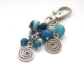 Bag purse charm blue beads swirls