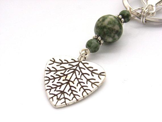 Leaf heart key chain keyring bag purse charm