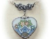 Lenox Autumn Broken China Heart Embellished Necklace