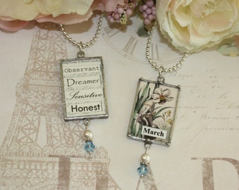 March Birthday Flower French Daffodil Lady Botanical Print and Birthstone Reversible Necklace