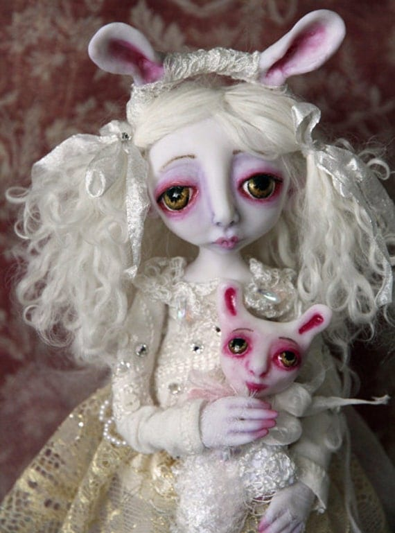 RESERVED for lorna OOAK Art Doll Snow Bunny