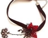 Black Velvet Choker Tatting Lace Burgundy Swarovski Crystal Bead Flower OOAK Handmade Christmas Gift