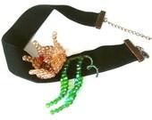 Black Choker Velvet Swarovski Beads Tulip Necklace Handmade OOAK Christmas Gift