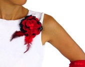 Red Flower Corsage Pin, Hair Charm, Christmas Wear Gift, Feathery,VERSATILE USAGE, OOAK, Navy Blue, Red.Handmade