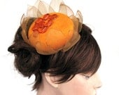 Orange sunflower cocktail hat Head piece Hair fascinator Handmade Unique item
