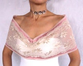 Ivory cream stretchy lace shoulder shrug, handmade