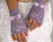Fingerless Lace Gloves Bridal Wrist Cuffs Lilac Purple Rustic Wedding Handmade