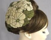 Floral mini hat headpiece IV,  races hair fascinator, khaki olive green, handmade, unique item