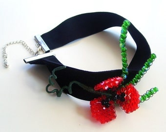 Black Velvet Choker Collar Necklace Swarovski Crystal Red Poppy Flower Handmade OOAK Statement Jewelry