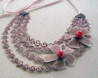 Statement Choker, Tatting Lace Collar Necklace, Unusual Bridal Jewelry, Lightweight, Gift for Her, Mother Day Gift, OOAK
