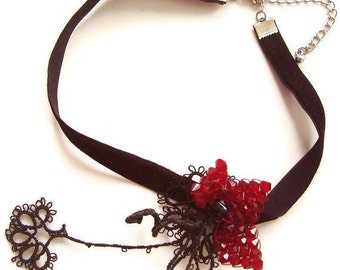 Black Velvet Statement Choker, OOAK Tatting Lace Collar Necklace, Burgundy Swarovski Crystal Bead Flower OOAK Mothers Day Gift