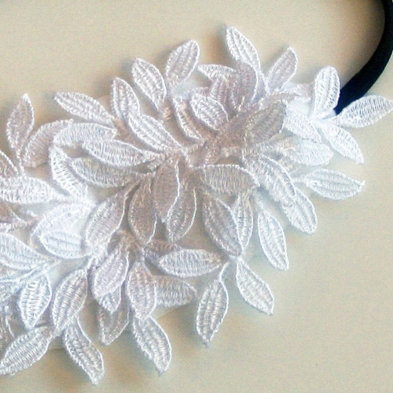 Bridal headband hair accessory head piece embroidery white stretchy  elastic ooak unique design