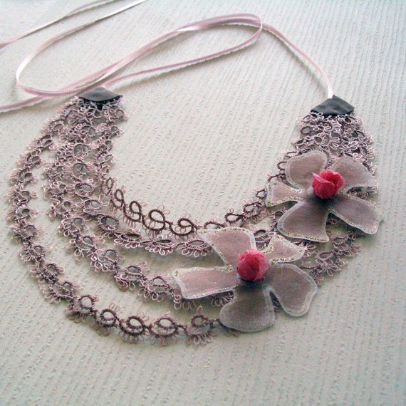 Statement Choker, Tatting Lace Collar Necklace, Unusual Bridal Jewelry, Lightweight, Gift for Her, Mother Day Gift, OOAK.