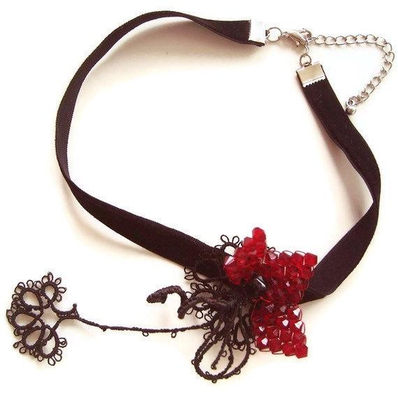 Black Velvet Statement Choker, OOAK Tatting Lace Collar Necklace, Burgundy Swarovski Crystal Bead Flower OOAK Mothers Day Gift
