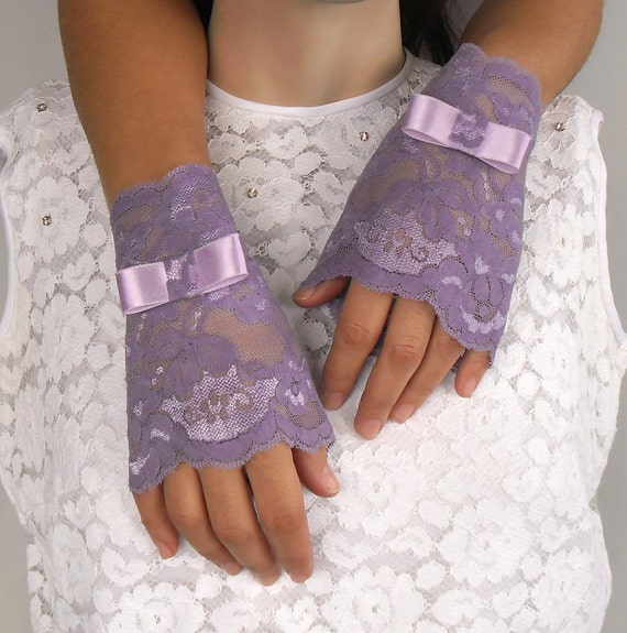 Fingerless Lace Gloves Bridal Wrist Cuffs Lilac Purple Rustic Wedding Handmade