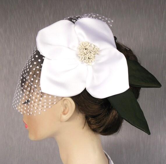 Wedding head piece, bridal headpiece fascinator, hat veil bridal tulle polka dot blusher white handmade bridal mini hat