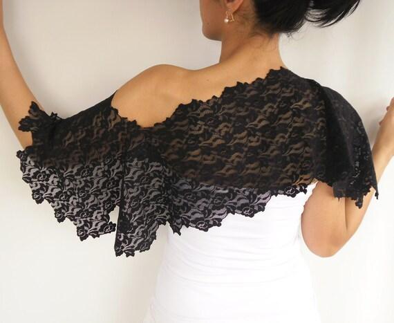Black lace bolero, shoulder wrap, handmade