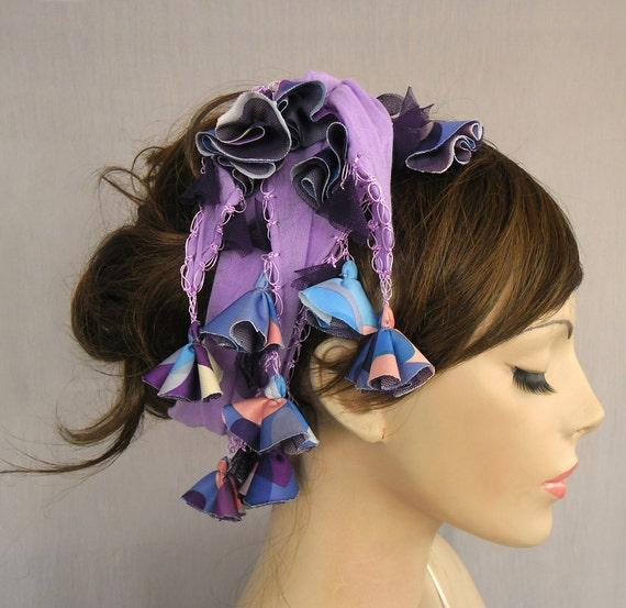 Summer gipsy headband, tasseled scarflette necklace- double usage, lightweight, cheescloth, handmade