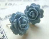 Powder blue rose earrings. 10% OFF STOREWIDE. Enter coupon code 10PERCENTSALE at checkout.