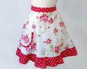 Waist Apron / Women's Hostess Waist Apron in Elegant Red Rose Bouquet with Red and White Dot Ruffle